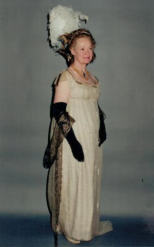 Daphne Neville in Georgian costume