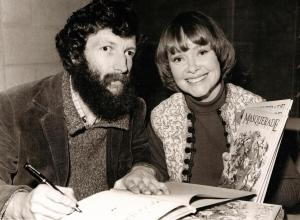Daphne Neville with artist Kit Williams