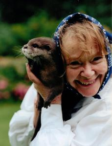 Daphne Neville with her otter Rudi in 2013