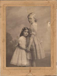 Daphne Neville as a child with sister